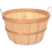1 Peck Wood Basket with Two Metal Handles 12 Pc - Natural - Pkg Qty 12