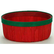 1 Peck Shallow Wood Basket with Red & Green Bands 12 Pc - Natural - Pkg Qty 12