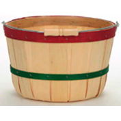 1/2 Peck Wood Basket with Metal Handle/Wood Grip, with Red & Green Bands 12 Pc - Natural - Pkg Qty 12