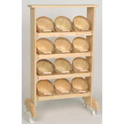 """Wood Rack 40""""H x 24""""W x 7-1/4""""D with (12) 1/4 Peck Baskets - Natural"""