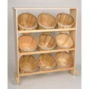 "Wood Rack 51""H x 45""W x 11-1/4""D with (9) 1/2 Bushel Baskets - Honey Stain"