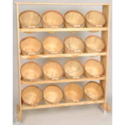 "Wood Rack 58-1/2""H x 48""W x 9-1/4""D with (16) 1 Peck Baskets - Mahogany Stain"