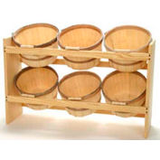 "Wood Rack 36""H x 22""W x 9-1/4""D with (6) 1 Peck Baskets - Honey Stain"