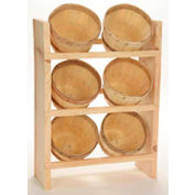 "Wood Counter Rack 20""H x 10""W x 6""D with (6) 1/8 Peck Baskets - Natural"