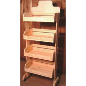 "Wood Crate Rack 64""H x 27""W x 15""D with (4) Levels - Honey Stain"