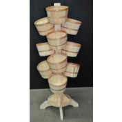 "Wood Revolving Pole Rack 71-1/2""H x 26""W x 26""D with (14) 1 Peck Baskets - Mahogany Stain"