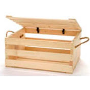 """Large Wood Crate 16""""W x 13""""D x 8""""H with Two Rope Handles & Lid 2 Pc - Natural - Pkg Qty 2"""