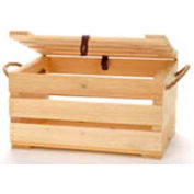 "Small Wood Crate 12""W x 9""D x 7""H with Two Rope Handles & Lid 4 Pc - Natural - Pkg Qty 4"