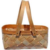 "16 Quart 16-3/4"" x 10-1/2"" Wood Basket with Two Wood Handles 10 Pc - Natural - Pkg Qty 10"