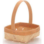 "Medium Shallow Square 7"" Wood Basket with Wood Handle 12 Pc - Natural - Pkg Qty 12"