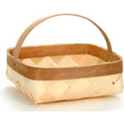 "Medium Shallow Square 10"" Wood Basket with Wood Handle 12 Pc - Natural - Pkg Qty 12"