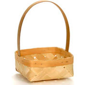 "Medium Square 10"" Wood Basket with Tall Wood Handle 12 Pc - Natural - Pkg Qty 12"