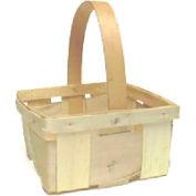 "1 Quart Square 7-1/2"" Wood Basket with Wood Handle 24 Pc - White - Pkg Qty 24"