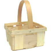 """1 Quart Square 7-1/2"""" Wood Basket with Wood Handle 24 Pc - White Stain - Pkg Qty 24"""