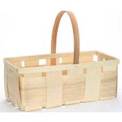 "4 Quart Rectangle 16"" x 8"" Wood Basket with Wood Handle 24 Pc - Natural - Pkg Qty 24"