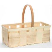 "4 Quart Rectangle 16"" x 8"" Wood Basket with Wood Handle 24 Pc - Cranberry - Pkg Qty 24"