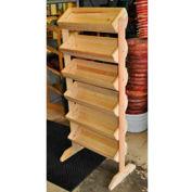 """Wood Barrel Rack 58""""H x 27""""W x 16""""D with (6) Small Barrels - Cranberry"""