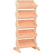 """Wood Barrel Rack 58""""H x 27""""W x 16""""D with (5) Large Barrels - Mahogany"""