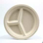 """Total Papers Eco-Friendly 3 Compartment Round Plates, 10"""", Wheat Stalk Fiber, 500 pcs."""