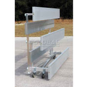 3 Row Universal Low Rise Tip N Roll Aluminum Bleacher, 15' Long, Single Footboard