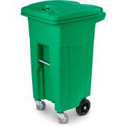 Toter Heavy Duty 2-Wheel Organic Waste Trash Cart W/ Casters, 32 Gallon, Organic Green - ACG32-00LIM