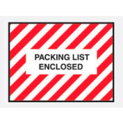 """Red Striped Packing List Enclosed - Full Face 4-1/2"""" x 6"""" - 1000 Pack"""