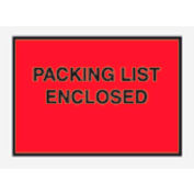 """Red Packing List Enclosed - Full Face 4-1/2"""" x 6"""" - 1000 Pack"""