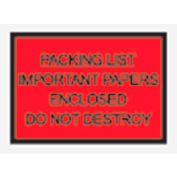 """Red Packing List Enclosed - Full Face, Important Papers Enclosed 4-1/2"""" x 6"""" - 1000 Pack"""