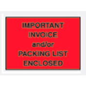 """Red Important Invoice and/or Packing List Enclosed - Full Face 4-1/2"""" x 6"""" - 1000 Pack"""