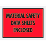 """Red Material Safety Data Sheet Enclosed - Full Face 7"""" x 5-1/2"""" - 1000 Pack"""