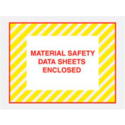 """Yellow Stripes Material Safety Data Sheet Enclosed - Full Face 4-1/2"""" x 6""""- 1000 Pack"""