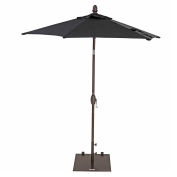 TrueShade® 7' Garden Parasol Umbrella - Push Button Tilt and Crank - Black