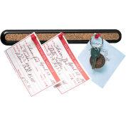 """Quartet® 12""""L Bulletin Bar II - Natural Cork with Black Plastic Frame"""