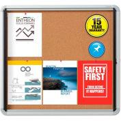 "Quartet® Enclosed Bulletin Board - Cork with Aluminum Frame - 30"" x 27"" - 1 Door"