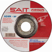 "United Abrasives - Sait 20060 Depressed Center Wheel T27 4-1/2""x 1/4"" x 7/8"" 24 Grit Alum. Oxide - Pkg Qty 25"