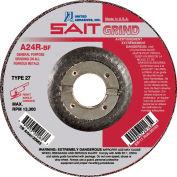 """United Abrasives - Sait 20079 Depressed Center Wheel T27 A24R 6""""x 1/4"""" x 7/8"""" 24 Grit Aluminum Oxide - Pkg Qty 25"""