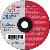 """United Abrasives - Sait 23051 Cut Off Wheel Type 1 A60T 3"""" x .035"""" x 3/8"""" 60 Grit Aluminum Oxide - Pkg Qty 100"""