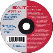 """United Abrasives - Sait 23052 Cut Off Wheel Type 1 A36T 3"""" x .035"""" x 1/4"""" 36 Grit Aluminum Oxide - Pkg Qty 100"""