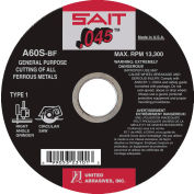 """United Abrasives - Sait 23105 Cut Off Wheel Type 1 A60S 6"""" x .045"""" x 5/8"""" 60 Grit Aluminum Oxide - Pkg Qty 50"""