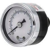 "PIC Gauges 1.5"" Utility Pressure Gauge, 1/8"" NPT, Dry Fillable, 0/15 PSI, Ctr Back Mount, 102D-158B"