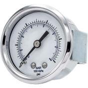 """PIC Gauges 2"""" Pressure Gauge, 1/8"""" NPT, Dry Fillable, 0/160 PSI Range, U-Clamp Mount, 103D-208F"""