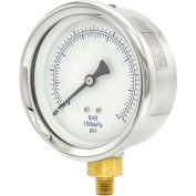 "PIC Gauges 4"" Utility Pressure Gauge, 1/4"" NPT, Dry Fillable, 0/60 PSI Range, LM, 201D-404D"