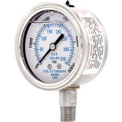 "PIC Gauges 2.5"" All Stainless Pressure Gauge, 1/4"" NPT, 0/5000 PSI, Glycerine Filled, LM, 301L-254R"
