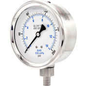 """PIC Gauges 4"""" All Stainless Pressure Gauge, 1/4"""" NPT, 0/200 PSI, Glycerine Filled, LM, 301L-404G"""