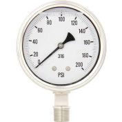 """PIC Gauges 4"""" All Stainless Pressure Gauge, 1/2"""" NPT, 0/200 PSI, Dry Fillable, LM, 4001-2LG-GF"""