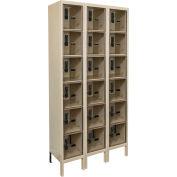 Hallowell UESVP3288 Safety-View Plus Locker w/DigiTech Lock 12x18x12 - 6 Tier 3W Assembled - Tan