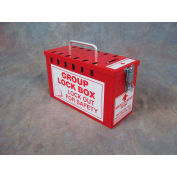 Accuform KCC617 Portable Group Lockout Box, Slot Style, Red