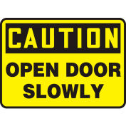 """Accuform MABR607VS Caution Sign, Open Door Slowly, 14""""W x 10""""H, Adhesive Vinyl"""