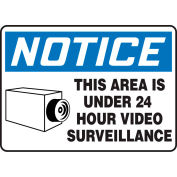 """Accuform MASE807VS Notice Sign, This Area Is Under 24 Hour Video..., 14""""W x 10""""H, Adhesive Vinyl"""