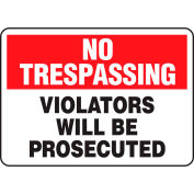 "Accuform MATR901VP No Trespassing Sign, Violators Will Be Prosecuted, 10""W x 7""H, Plastic"